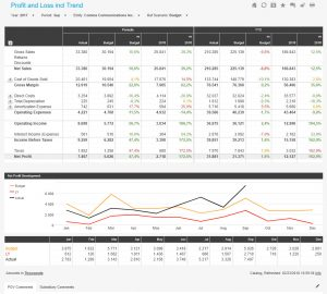 Profit and Loss dashboard including trend analysis